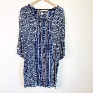SONOMA Boho Shirt Dress XL Geometric Print Blue